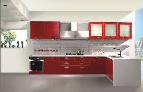 Kitchen With Red Appliances - modern bright kitchen with red gloss cabinet grey laminate floor