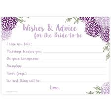 purple floral wishes and advice for bride to be madison and hill