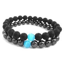 beaded black bracelet images 2017 blue cats eyes natural gunmetal hematite stone men hand jpg