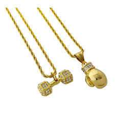 stainless gold necklace images Gold plated two piece stainless steel necklace set with dumbbell jpg