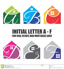 initial letter vector set for real estate and mortgage logo a to f
