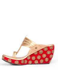 Wedding Shoes Kl Buy Red U0026 Golden Embroidered Kolhapuri Wedges By The Shoe Tales At