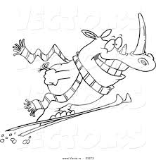 cartoon vector of cartoon skiing rhino coloring page outline by