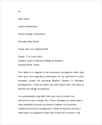 college acceptance letter letter template
