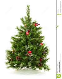 green decorated christmas tree on white background stock photo