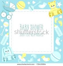 baby shower frames greeting baby shower card frame text stock vector 739435084