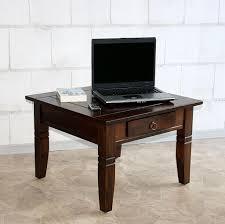 Schreibtisch Kolonial Couchtisch 65x46x65cm 1 Schublade Pappel Massiv Nussbaumfarben