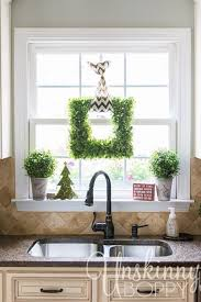 Kitchen Windows Decorating Kitchen Window Decor Square Boxwood Wreath With Boxwood