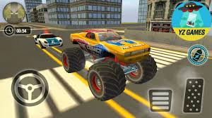 monster truck video game play police chase monster car city cop driver escape new truck