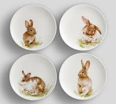 Meritage Hosts Pottery Barn Design Pasture Bunny Salad Plate Mixed Set Of 4 Pottery Barn