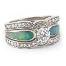 Turquoise Wedding Rings by Radiant Diamond And Australian Crystal Opal Engagement Ring Most