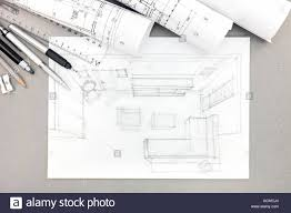 graphical sketch by pencil of interior living room with drawing
