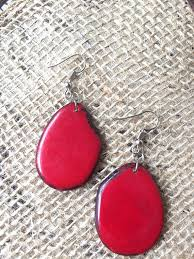 red necklace earring set images Tagua nut red layered necklace and earrings set galapagos tagua jpg