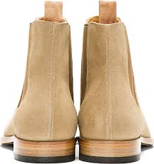 light tan suede chelsea boots lyst saint laurent tan suede chelsea boots in natural for men