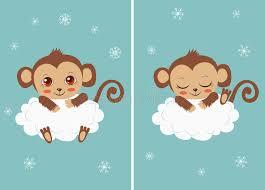 Baby Monkey Meme - cute baby monkey on a cloud sleeping and with big eyes cartoon