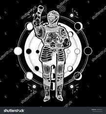 medieval knight tattoo art esoteric symbol stock vector 724858825