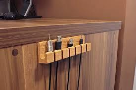 Cable Organizer Desk The Handmade Wooden Desk Cable Organizer Gadgetsin