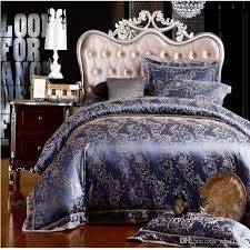 Jacquard Bedding Sets Luxury Jacquard Silk Cotton Bedding Set King Size 4 6pcs