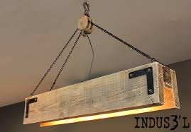 Hanging Industrial Lights by Rectangular Industrial Suspension Made From Reclaimed Wood With