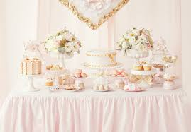 pink and gold cake table decor customised dessert table