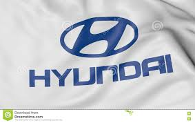 hyundai logo close up of waving flag with hyundai motor company logo 3d