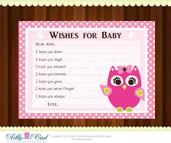 pink owl baby shower wish and advice card printable diy