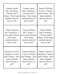 grade 1 math problems farmyard math word problems grade 1 pdf