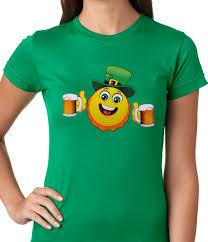 irish st patrick u0027s day drinking leprechaun emoji ladies t shirt