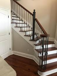 Metal Stair Banister Forged Steel Stair Rail With Wooden Cap Renaissance Man Inc