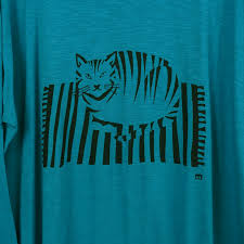 fat cat sat on a mat organic long sleeve teal top for women
