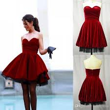 graduation dresses for college 2016 real photos sweetheart burgundy party guest dress velvet