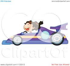 cartoon of a driving a purple race car royalty free vector