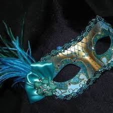 teal masquerade masks lace and feather masquerade mask in shades of gold and aqua