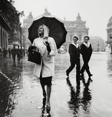 the evolution of fashion photography model in raincoat by
