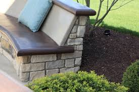 Concrete Patio Bench Custom Concrete Seating Bench Around Gas Firepit Traditional
