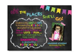 preschool graduation invitations dr seuss oh the places preschool kindergarten girl