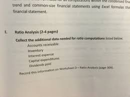 complete part e and f on page 303 305 ratio analy chegg com