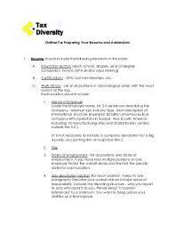 Resume Addendum Outline For Preparing Your Resume And Addendum Tax Executives