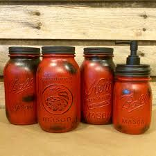 red mason jar canisters rustic red canister set with soap rustic