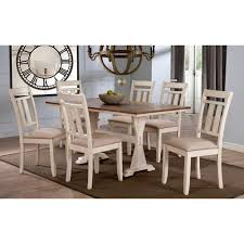 dining room sets kitchen dining room furniture the home depot roseberry 7 piece beige fabric and distressed wood dining set