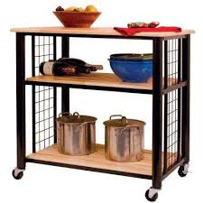 industrial iron wood kitchen trolley natural black buy kitchen kitchen cart the home depot