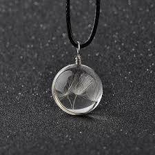 crystal glass pendant necklace images Real dandelion jewelry crystal glass ball dandelion necklace long jpg