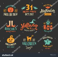 halloween logo templates badges set handwritten stock vector
