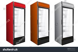isolated display market commercial refrigerator drinks stock