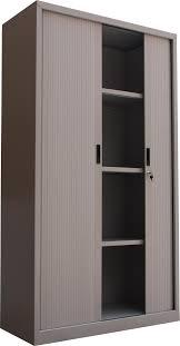 Roll Door Cabinet 4 Adjustable Shelves Knock Design Steel Roller Shutter Door