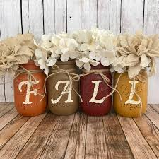 fall mason jar set rustic home decor orange brown red and