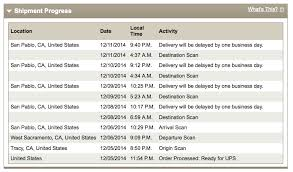 delayed 4 consecutive days each day it was out for delivery then