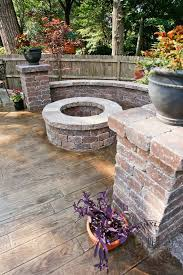 Backyard Concrete Ideas Love This Fire Pit And The Stamped Concrete To Make Look Like Wood