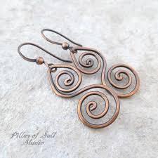 vire earrings spiral copper wire earrings pillar of salt studio inc
