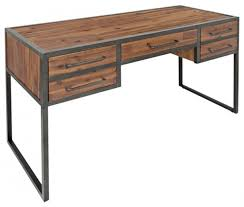Modern Industrial Desk Industrial Antique Black Metal Writing Desk With Wood Top Wire